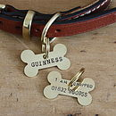 Medium brass bone dog ID tag (front and back)