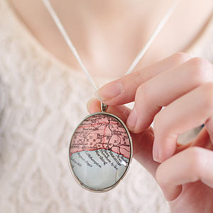 Map Personalised Pendant Necklace Oval - necklaces & pendants
