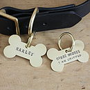Large brass bone dog ID tag (front and back)