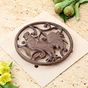 Cast Iron Rooster Trivet - dining room