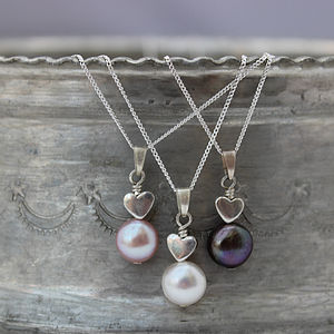 Mini Pearl Pendant With Silver Heart - necklaces