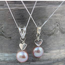 single pink pearl pendant with silver heart