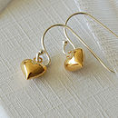 Tiny Gold Heart Drop Earrings
