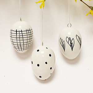 Black And White Ceramic Eggs, Set Of Five