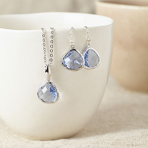 Silver Aquamarine Gemstone Set - necklaces & pendants