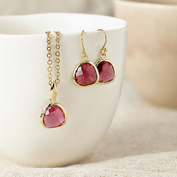 Gold Ruby Gemstone Set