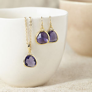 Gold Amethyst Gemstone Set - earrings