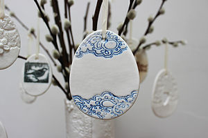 Large Porcelain Blue Lace Egg Decoration - easter decorations