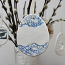 Large Porcelain Blue Lace Egg Decoration