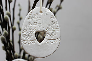 Large Porcelain Cut Out Heart Egg Decoration - easter keepsakes