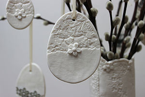 Large Porcelain Lace And Daisy Egg Decoration - easter decorations