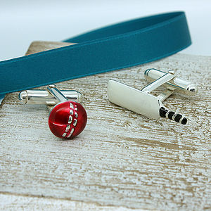 Stylised Silver Enamel Cricket Bat And Ball Cufflinks - interests & hobbies