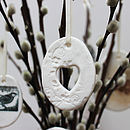Small Porcelain Cut Out Heart Egg Decoration