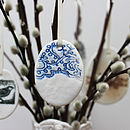 Small Porcelain Blue Lace Egg Decoration