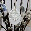 Small Porcelain Lace And Daisy Egg Decoration