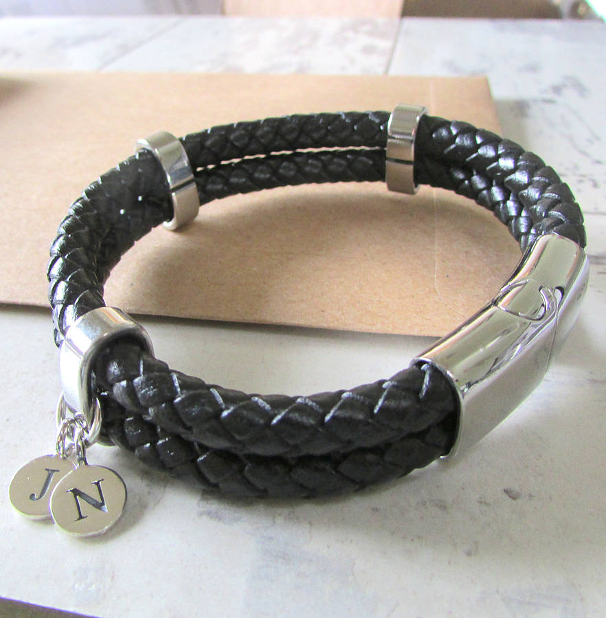 Mens Personalised Double Leather Bracelet By Evy Designs