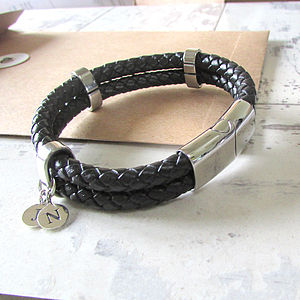 Mens Personalised Double Leather Bracelet