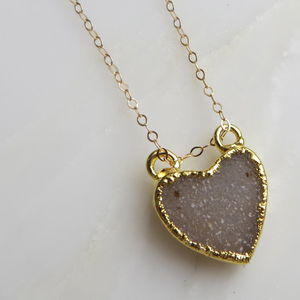 Gold Heart Druzy Necklace - gifts for her
