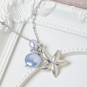 Silver Pearl And Starfish Necklace - necklaces & pendants