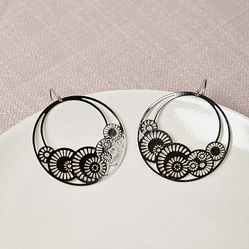 Silver Seashell Hoop Earrings