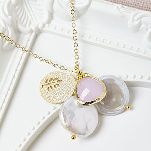 Gold Pink Cluster Necklace
