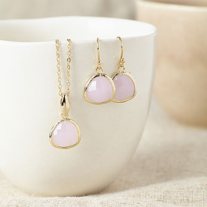 Gold And Pink Gemstone Set - earrings