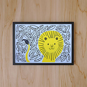 Jungle Lion Print - nursery pictures & prints