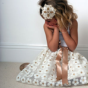 Daisy Embroidered Tulle Handmade Tutu Skirt