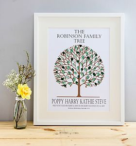 Personalised Fingerprint Family Tree - prints & art