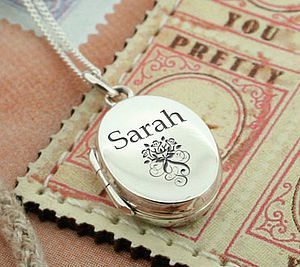 Personalised Sterling Silver Oval Locket - christening gifts