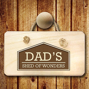 Personalised 'Dad Shed 'Wooden Sign - decorative accessories