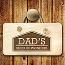 Personalised 'Dad Shed 'Wooden Sign