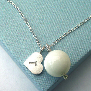 White Jade And Heart Necklace