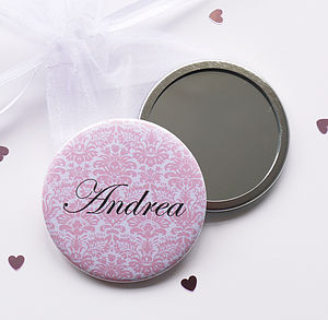 Personalised Floral Compact Mirror - bridal beauty