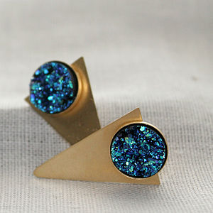 Gold Geometric Triangle Studs - into the blue
