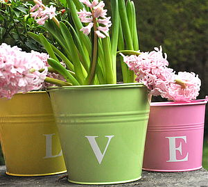 Monogram Pastel Buckets - table decorations