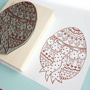 Large Easter Egg Rubber Stamp