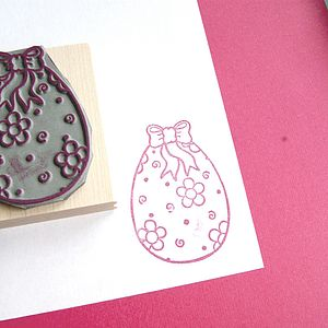 Floral Easter Egg Rubber Stamp
