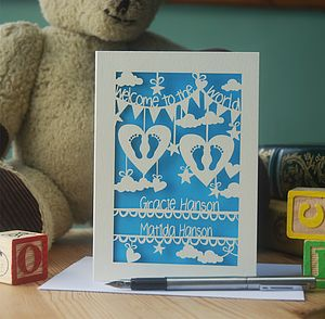 Personalised Twins Papercut Card