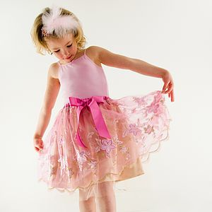 Pink Embroidered Tutu Skirt