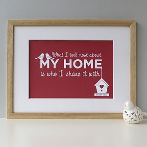 'What I Love Most About My Home' Family Print - personalised