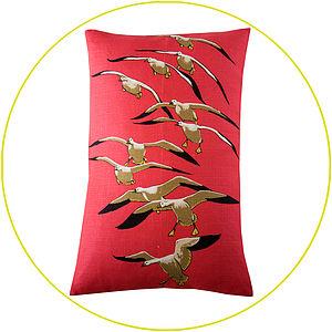 Upcycled Vintage Seagull Cushion - cushions