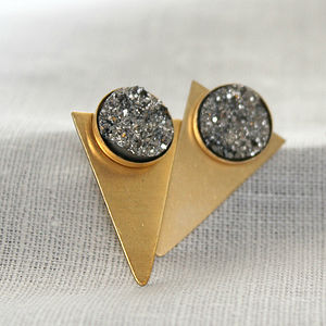 Silver And Gold Geometric Triangle Studs - earrings