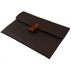Chocolate Leather 13 Inch Macbook Air Case - tech accessories for her