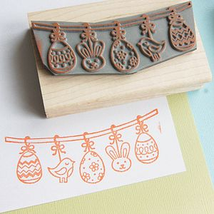 Easter Bunting Rubber Stamp