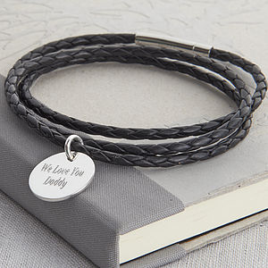 Plaited Leather And Silver Wrap Bracelet - men's jewellery
