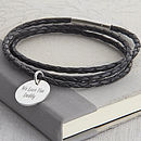 Personalised Leather And Sterling Silver Wrap Bracelet