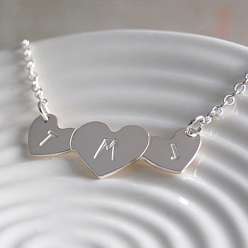Personalised Silver Love Hearts Necklace