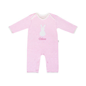 Personalised Bunny Applique Baby Sleepsuit - bath and bedtime gift ideas