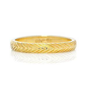 Fairtrade 18ct Gold Wheat Engraved Ring 3mm